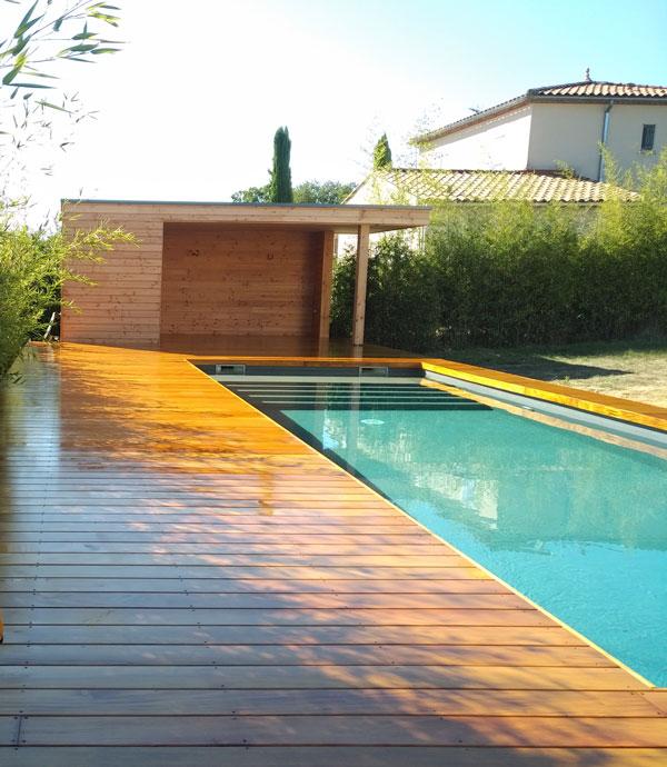 Blauzac, Tour de piscine en Garapa, Bois Exotique du Brésil