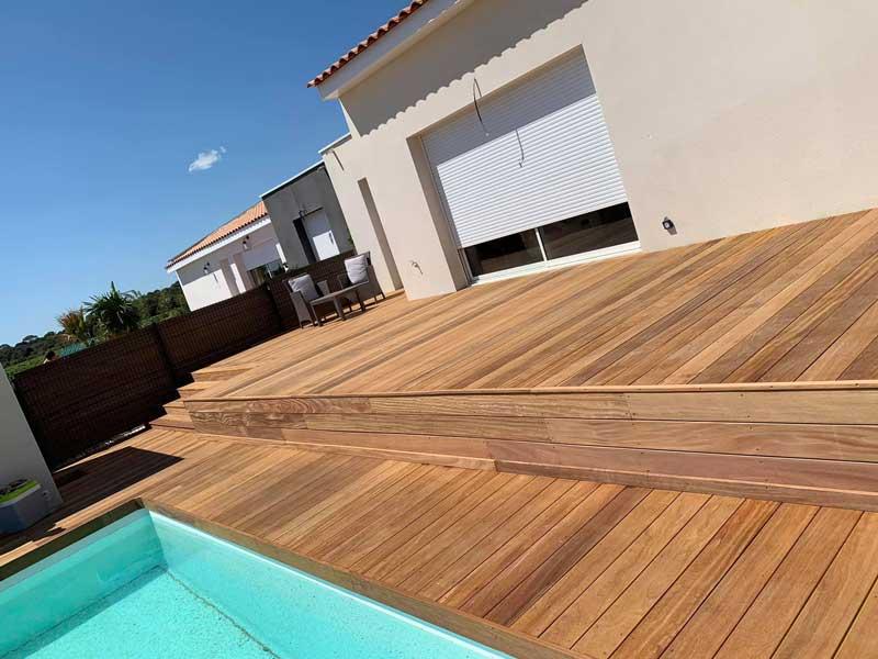 Terrasse et tour de piscine en bois Cumaru à Sommières