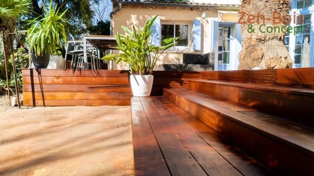 Tour de piscine et terrasse en bois Itauba à Montpellier