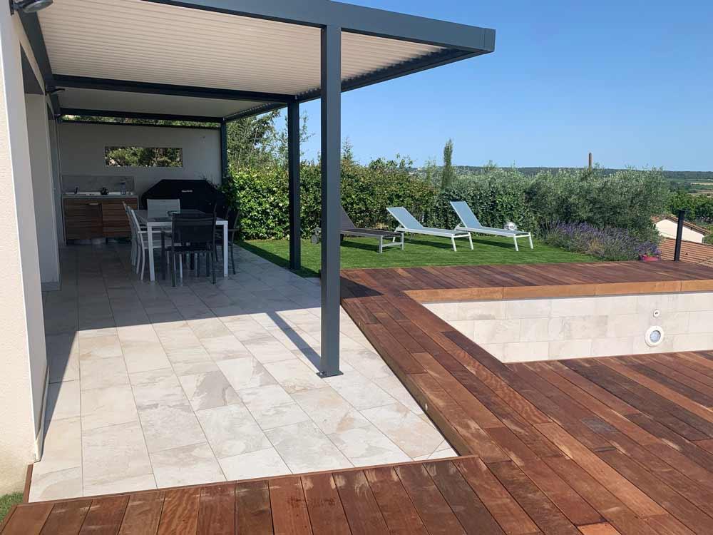 terrasse bois exotique la vaunage